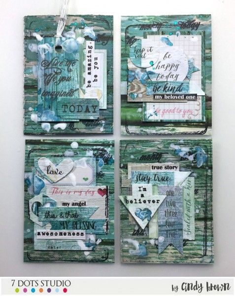 Blue ATCs by Cindy Brown