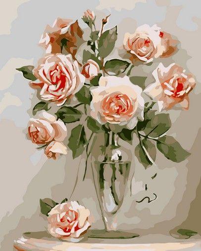 Кремовые розы худ. Игорь Бузин Раскрашивание по номерам Мenglei (Китай)