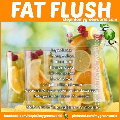 FAT FLUSH Recipe ❥➥❥ It is alkalizing too In a BPA-free pitcher add the following: 1/2 gallon filtered water 1 orange sliced 1 lime sliced 1 lemon sliced 1/3 cup grapes 8 mint leaves * Let the fruits infuse for 1 hour in the fridge * Optional: Add a few raspberries for decoration * You can keep up to 2 days * Drink 2 to 3 times a day * Enjoy! .. pinned with Pinvolve - pinvolve.co