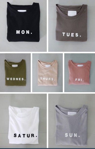 shirt grey pink blue beige black white peach dark light hipster boho cute girly pale asthetic days of the week monday tuesday wednesday thursday friday saturday sunday