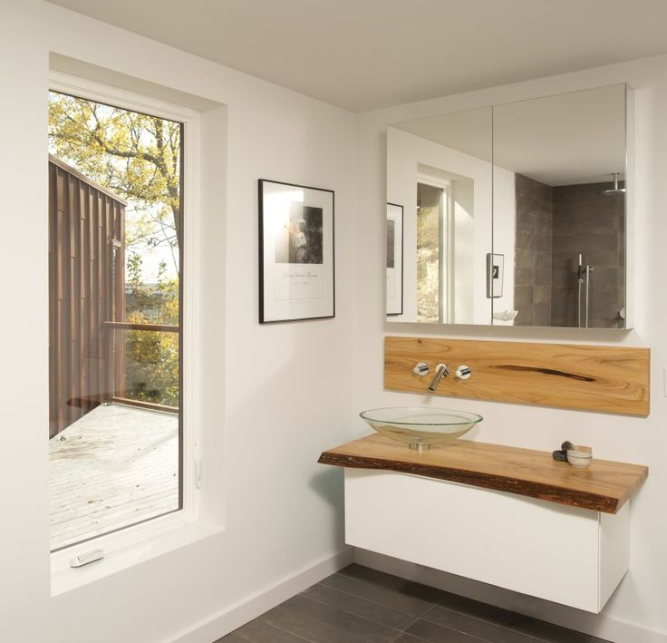 Bathroom. Bathroom For Guest Ideas With White Wooden Floating Bath Vanity Using Brown Wooden Top And Round Glass Bowl And Gray Ceramic Tiled Flooring As Well As Bath Vanities With Tops Also Bath Tile Ideas. Marvelous Furnitures Interior For Guest Bath Ideas