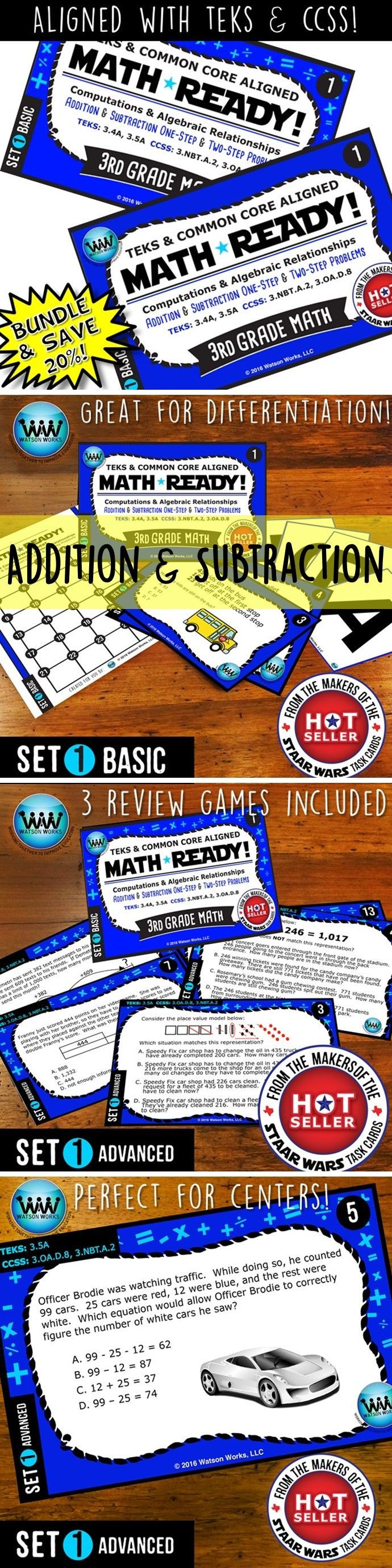 SAVE 20% WHEN YOU PURCHASE THIS BUNDLE (includes both our Basic & Advanced MATH READY Addition & Subtraction 1-Step & 2-Step Problems Task Cards sets)! Both sets include 24 task cards w/ multiple choice answers. The BASIC set helps your students practice & apply their understanding of addition/subtraction at a simpler, basic level with shorter questions, while the ADVANCED set features rigorous, higher-level thinking questions w/ longer word problems, making them great for differentiation…