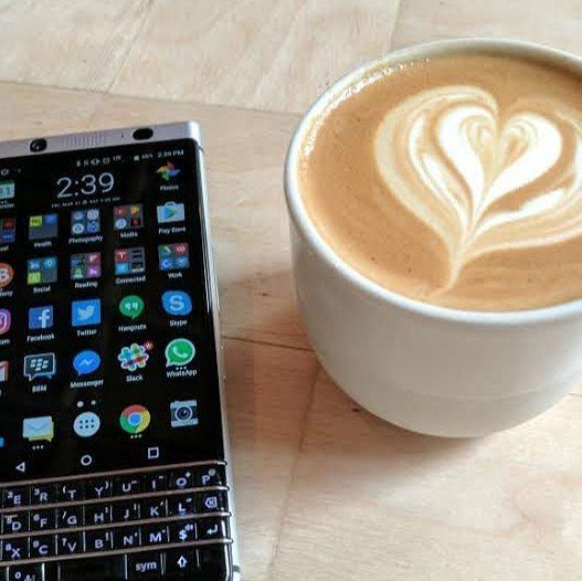 """#inst10 #ReGram @crackberrykevin: Channeling some @reneritchie for a Friday KEYone Fancy Coffee instaphoto :) Definitely a """"Distinctly Different"""" Smartphone! #blackberry #blackberryKEYone #android #keyone #coffee ...... #BlackBerryClubs #BlackBerryPhotos #BBer ....... #OldBlackBerry #NewBlackBerry ....... #BlackBerryMobile #BBMobile #BBMobileUS #BBMibleCA ....... #RIM #QWERTY #Keyboard ....... 70% Off More BlackBerry: """" http://ift.tt/2otBzeO """" ....... #Hashtag """" #BlackBerryClubs """" ......."""