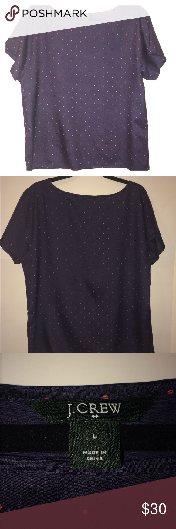 J. Crew Factory Printed Washed Silk Tee Super cute navy top with pink polka-dots. Loose fit with side slits at hem. 100% silk. Located in a smoke free home. Excellent condition. J.Crew Factory Tops Tees - Short Sleeve