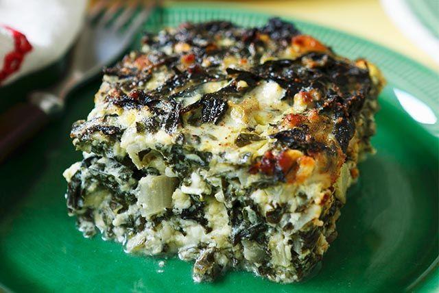 Carrés de quiche aux épinards et au fromage à la grecque