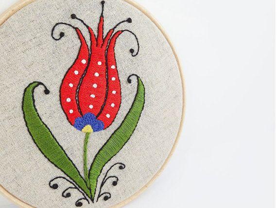 A budding tulip for our 'Fresh Start' team challenge this month from Lylaaccessories. http://www.etsy.com/listing/102375541/embroidery-hoop-art-turkish-tulip-wall Embroidery Hoop Art - Turkish Tulip Wall Hanging - Wall Art - Tomato Red - Green - Yellow - OOAK. $33.00, via Etsy.