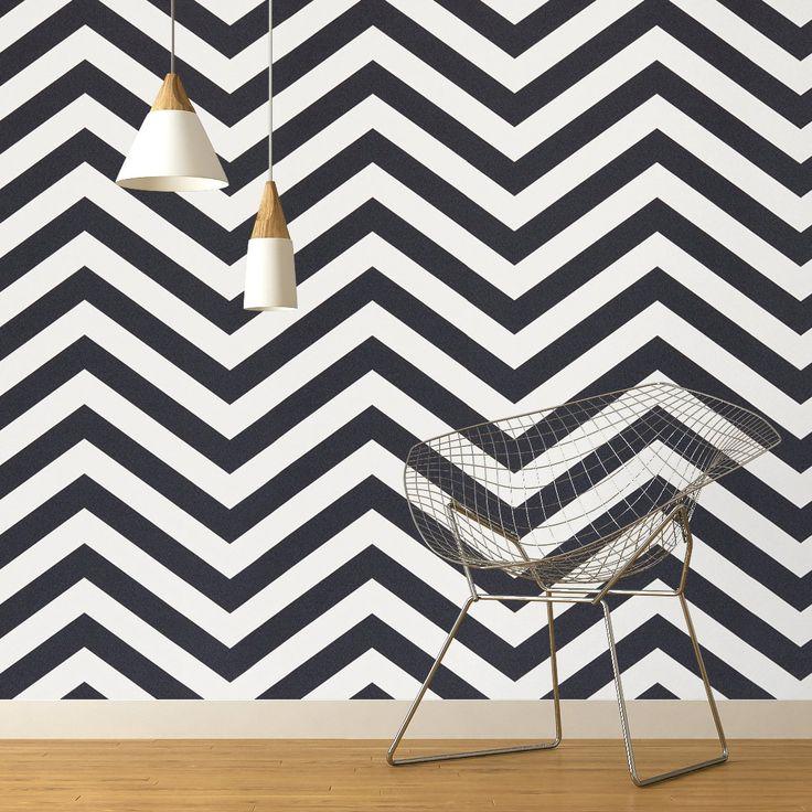 Papier peint CHEVRON Expansé sur intissé motif géométrique, Noir et blanc - Peinture et Papier Peint - Saint Maclou