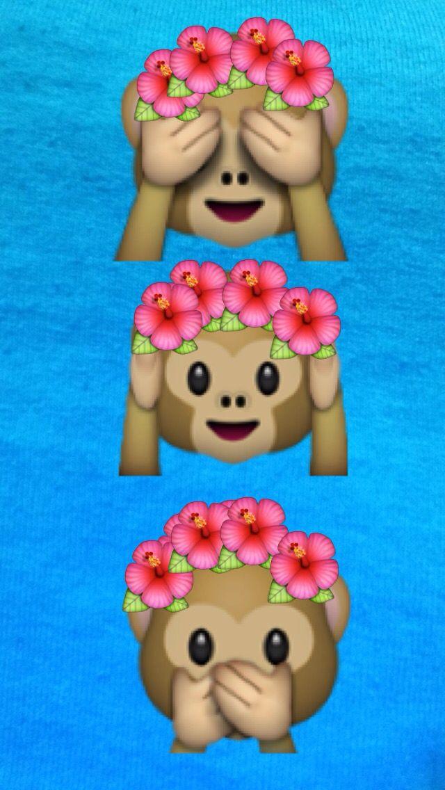 Emoji Cute Tumblr Flower Crown Monkey See Hear Speak No