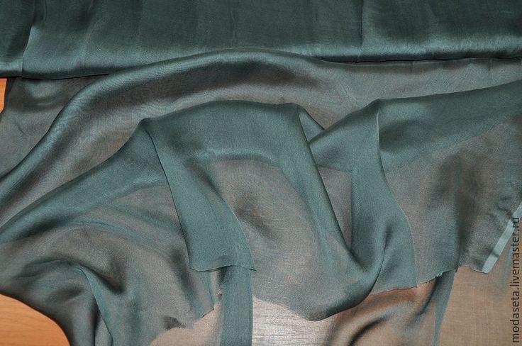Купить или заказать Шифон шелковый, Италия в интернет-магазине на Ярмарке Мастеров. Шифон шелковый, Италия Воздушный, прозрачный шифон. Легкий и невесомый! Поверхность гладкая. Подойдет для пошива блузки, летящей юбки, платья, туники и т.д. Цвет: Серо-зеленый. Состав: Шелк 100% Удобная ширина: 1,45 м. Цена 1200 руб. за 1 метр. -------------------------------------------------------------------- При общей покупке на сумму свыше 10 000 руб.