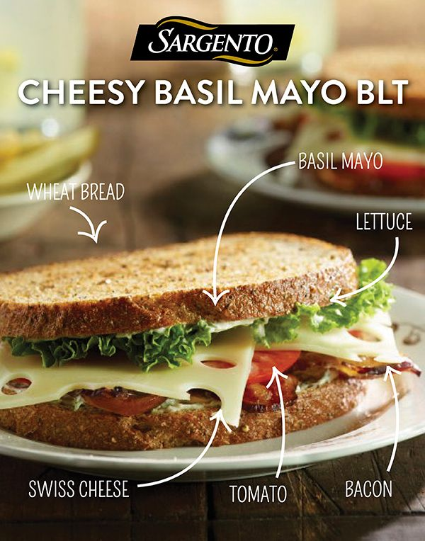 Is your lunch a little lackluster? This easy and oh-so-delicious cheesy basil mayo BLT is sure to liven things up, making it a great choice for a midday meal. Built with hearty bread, thick cut bacon, ripe tomatoes and our sliced Swiss Cheese... this ready-to-eat sandwich is anything but basic. Find this and other lunch suggestions at Sargento.com.