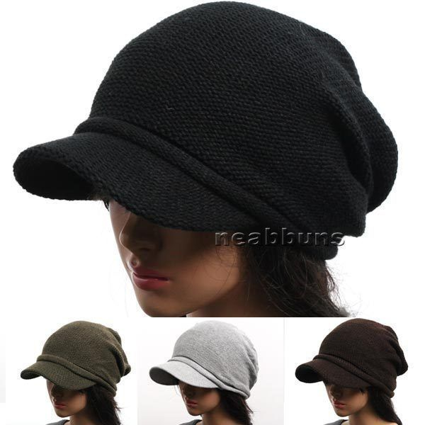 New men women VISOR BEANIE knit black Hat Cap NWT 1035 cotton #neabbuns #Beanie