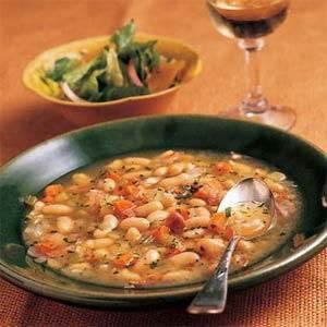 The canned beans allow you to prepare this Tuscan white bean soup with proscuitto in just over 30 minutes. While the soup is simmering, you might want to assemble a garden salad and toast slices of Italian bread to complete the meal.