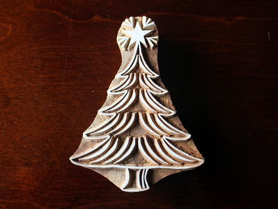 Textile Stamp, Pottery Stamp, Indian Wood Stamp, Tjaps, Blockprint Stamp- Swirl Christmas Tree