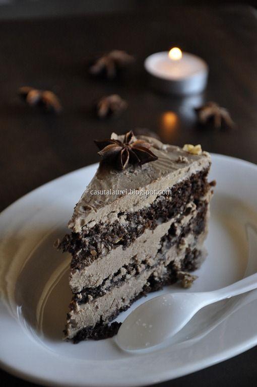 Tort Coffee noisette, o reteta de desert, dulce, delicioasa, cu blat usor, fara faina si crema ciocolatoasa si usoara, de unt