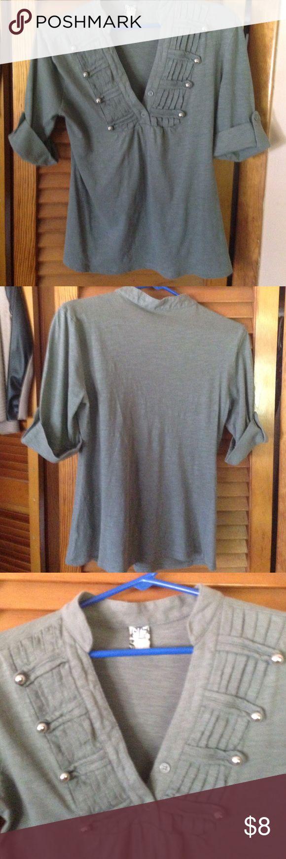 Cute top Greyish green military style top. Gently used Tops Tees - Short Sleeve