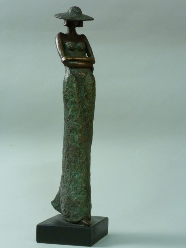 Bronze Resin #sculpture by #sculptor Kay Singla titled: 'I love you (Elegant Lady Standing Thinking statuette)'. #KaySingla