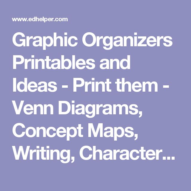 Graphic Organizers Printables and Ideas - Print them - Venn Diagrams, Concept Maps, Writing, Character, Reading