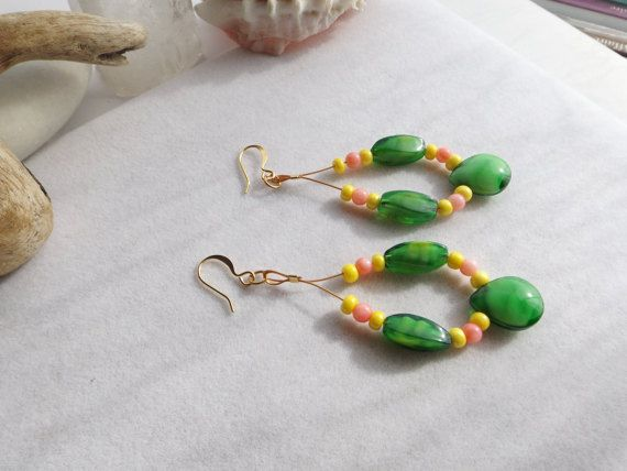 Hoop Drop Dangle Green Pink Yellow Earrings with by Sparklesalot2