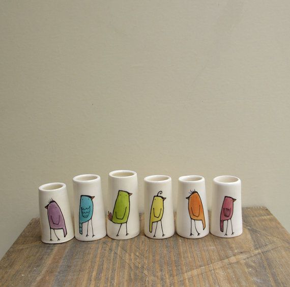 These are so cute! Rainbow ceramic mini bird bud vases set of 6 by catherinereece on Etsy
