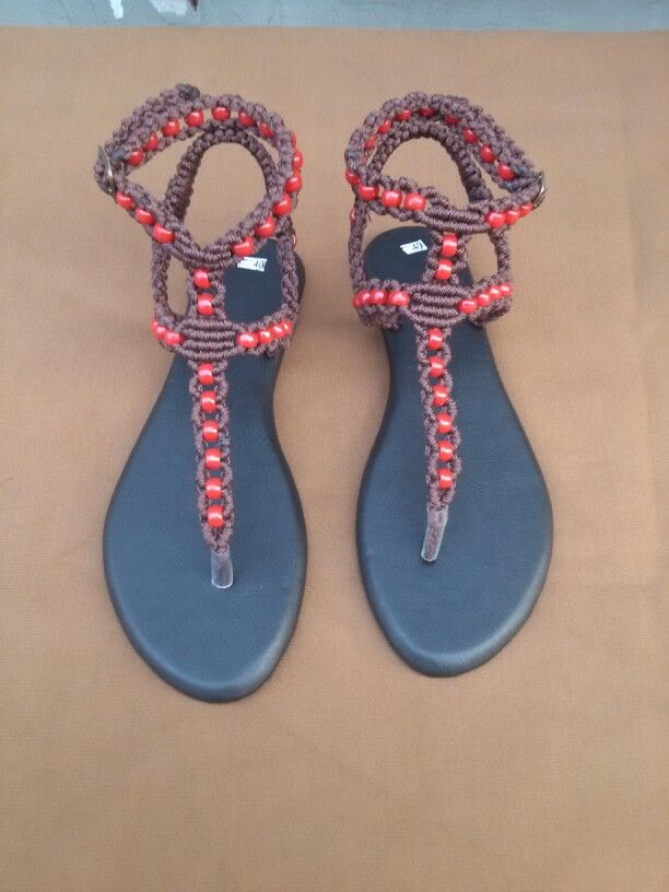 Flat Gladiator  sandals skillfuly hand crafted and embellished with rubber beads