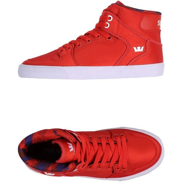 Supra High-Tops & Trainers ($59) ❤ liked on Polyvore featuring shoes, sneakers, red, red high tops, red high top shoes, supra footwear, red hi top sneakers and high-top sneakers