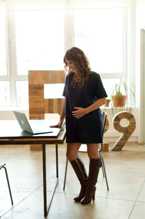 The perfect little black dress for pregnancy style. Great workwear.