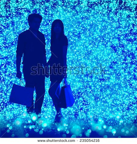 man and woman shopping night light. Real people on CG composition background