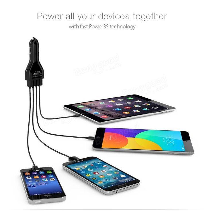 BlitzWolf® 9.6A 48W 4 portos USB autós töltő BW-C1 Power3S Technology iPhone, iPad, eladó - Banggood.com