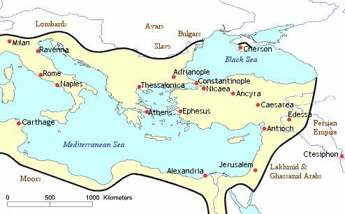 Map of the Byzantine Empire 565 AD. This map depicts the Empire at the death of Justinian I, who had reigned from 527 to 565 as sole Emperor, sometimes in concert, and sometimes in conflict, with his powerful wife Theodora.  Through a series of hard-fought and destructive wars against Goth and Vandal successor states in the former territory of the western Roman Empire, Justinian had re-extended the Empire's boundaries to southern Spain, the Italian peninsula and North Africa. The…