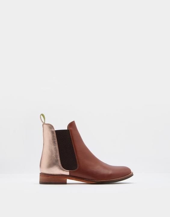 Joules US WESTBOURNE Womens Leather Chelsea Boots Rose Gold