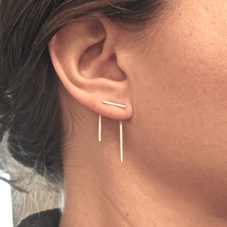 Staple line ear jacket stud set,ear jacket pair and stud pair,mix and match,earring jackets,double sided earring,front back earring 0144 by VirginiaWynne on Etsy https://www.etsy.com/listing/233419344/staple-line-ear-jacket-stud-setear
