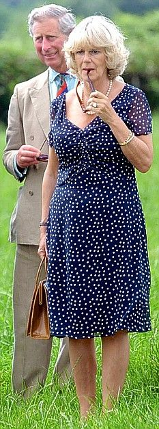 Camilla Parker Bowles likes polka dots? Trying to be like Diana? Give it up!