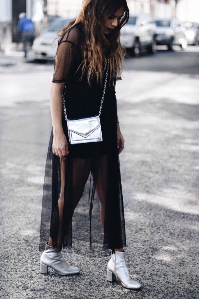 vestido transparente / silver / boots