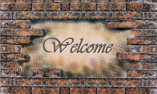 """Achim Importing RM1830WB01 Outdoor Welcome Rubber Mats Style Brick by Achim Importing. $19.95. Make your guests feel welcome with this Bricks Welcome Rubber Mat. High definition 3-D design features stacked bricks surrounding a warm """"Welcome"""" message. Anti-skid rubber back is made of 100% recycled rubber with a soft, durable 100% polyester face. Mats are super easy to clean ? just shake, sweep, or rinse with a garden hose for a good-as-new appearance. Measures 18"""" W x 30"""" L."""