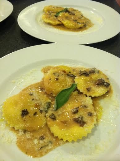 Butternut Squash Ravioli w Porcini Sauce || Brown Sugar, Cinnamon, Fresh Ricotta Cheese or 1 Gal Whole Milk plus Buttermilk, Fresh Italian Parsley, 2 cups All Purpose flour, 2 cups Semolina, 8 Egg Yolks, 1 cup Porcini Mushrooms, 1/2 Marsala Wine, 1 cup Shallots,  1/4 cup fine chopped Sage, Parmesan Cheese 1/2 cup Heavy Cream Romano Cheese grated for sprinkling Finely Chopped Parsley for garnish Sprigs of Sage for Garnish