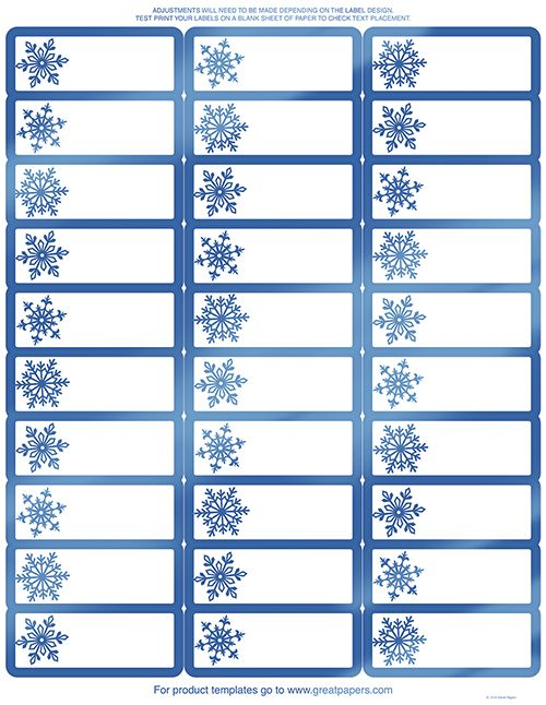 Blue Foil Snowflake Christmas Address Labels - 120 Count Christmas
