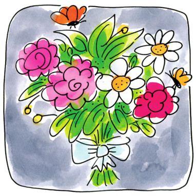 Een bosje bloemen met vlinders - Greetz