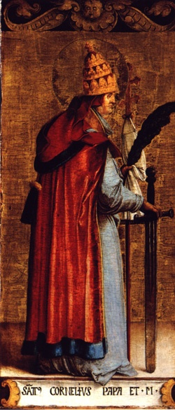 Saint Cornelius pray for us and against earache, against epilepsy, against fever, against twitching, and cattle/domestic animals.  Feast day September 16.