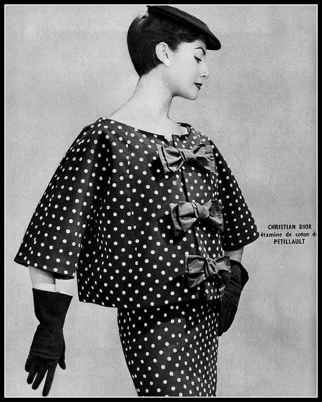 Model in polka-dot cotton etamine dress and jacket by Christian Dior   Photo: Georges Saad, 1954