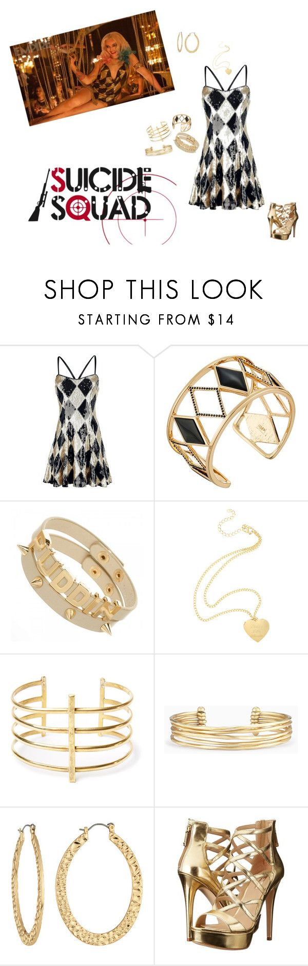"""""""Harley Quinn:Club Scene"""" by haxan ❤ liked on Polyvore featuring Rebecca Minkoff, BauXo, Stella & Dot, Fragments and GUESS"""