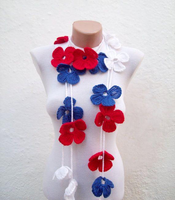 Hand crochet Lariat Scarf  Red Blue White Flower by scarfnurlu