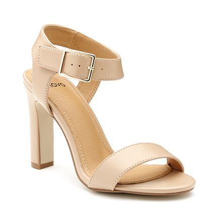 High Heel Patent Sandal with Buckle Ankle Strap