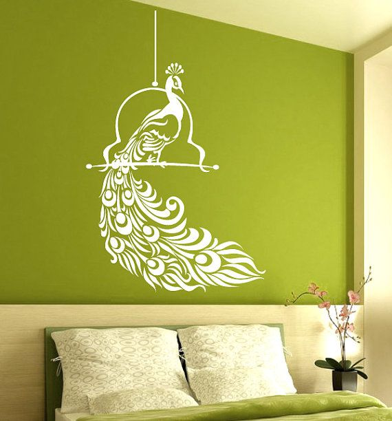 Vinyl Wall Decals Wall Graphic Elegant Peacock By