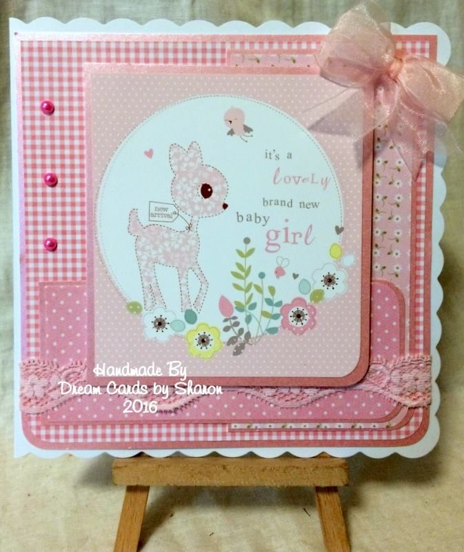 Made by Sharon King - Using Hunkydory Babies Little Book. 7 x 7 card base.