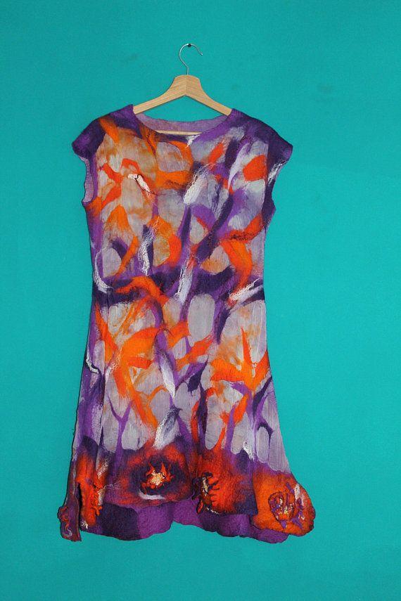 Original dress - Purple dress - Silk dress - Wool dress - Art dress