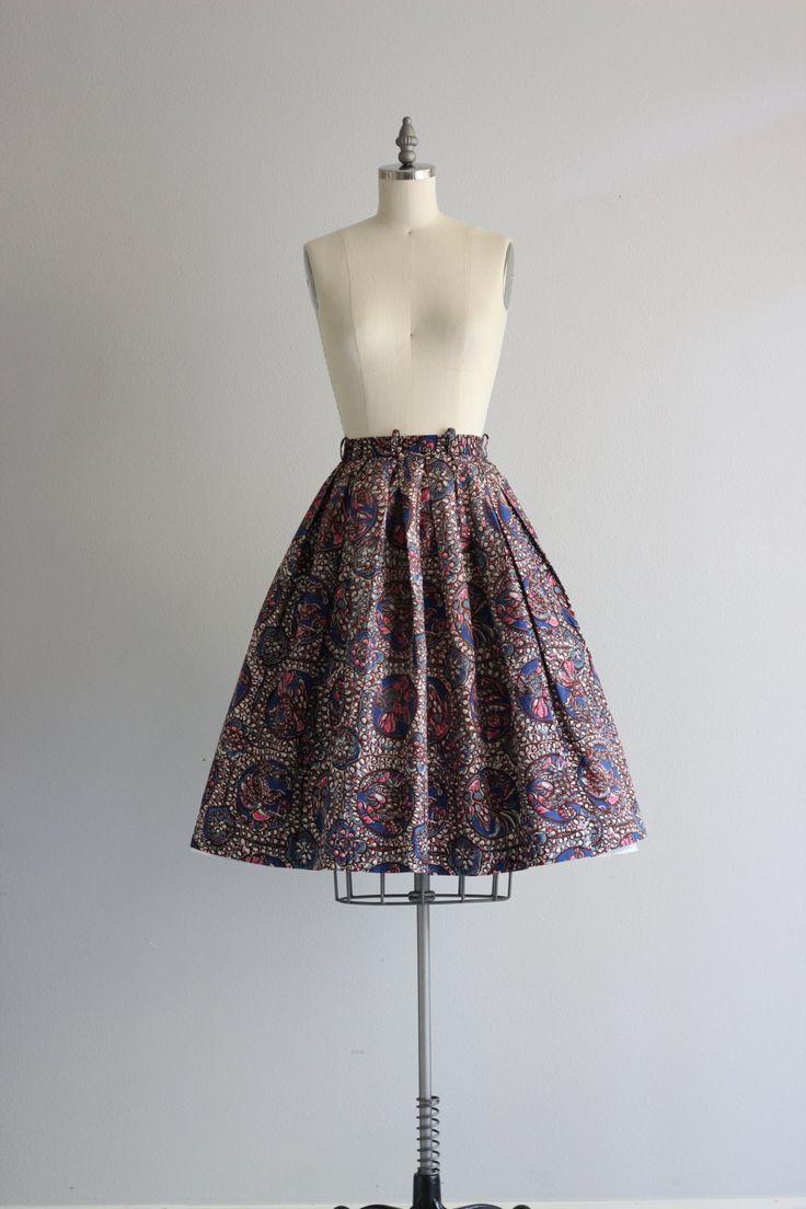 Retro katoen rok jaren 1950 50s rok jaren vijftig vogel print rok vintage rok, volledige rokje met geplooide top en gestreepte taille met riem