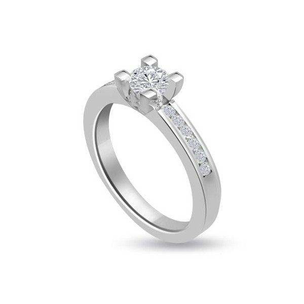 ANELLO DI FIDANZAMENTO SOLITARIO COMPOSTO CON DIAMANTE SUL GAMBO 18CT ORO BIANCO | Solitario Composto con 14 diamanti laterali. Il peso totale dei carati per questo anello va da 0.35ct a 0.60ct, con il diamante centrale disponibile da 0.21ct a 0.46ct. I 14 diamanti laterali sono 0.01ct ciascuno per un totale di 0.14ct e sono montati a battita. Il diamante centrale e 14 diamanti laterali sono Taglio Brillante.