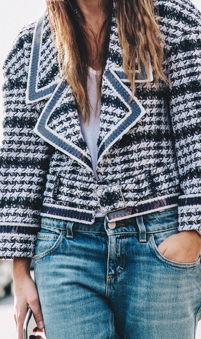 Tweed Jacket + slouchy jeans