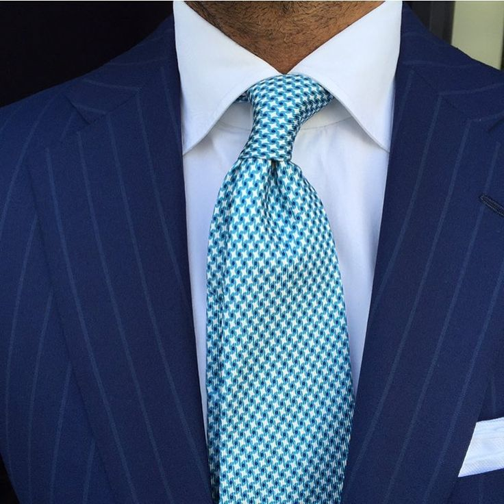 Mens Silk Pocket Square - Navy, Turquoise Diamond by VIDA VIDA