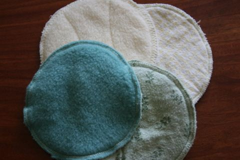 Homemade nursing pads - fleece towards your clothing because it repels moisture and prevents leaking, and flannel (recycle a receiving blanket) towards skin because it is a soft natural fabric that is absorbent.